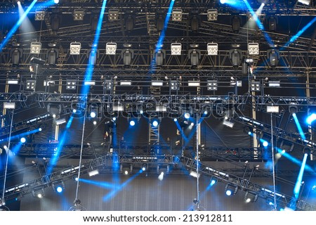 illuminated open air concert stage - stock photo