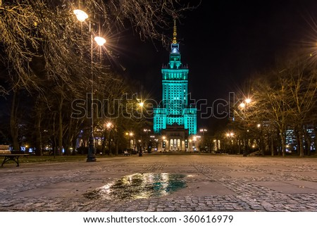 Illuminated Palace of Culture and Science at night. Warsaw, Poland