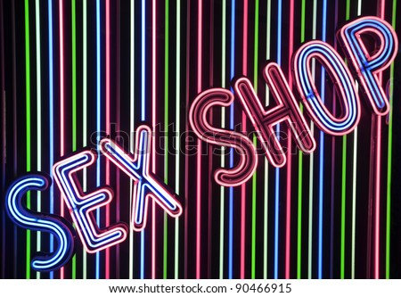 illuminated sign of sex shop in Madrid - stock photo