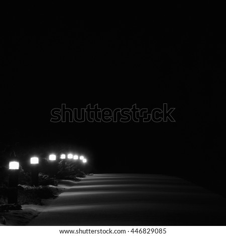 Illuminated Snowy Park Footpath Lights Lit Outdoor Pathway Pavement Lanterns Lampposts Row Night Winter Snow Evergreen Shrubs Lamps Solitude Vertical Deserted Night Scene Isolated Background - stock photo