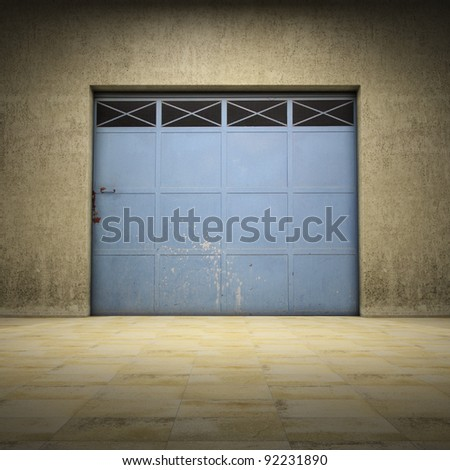 Illuminated space of grungy concrete with metallic door - stock photo