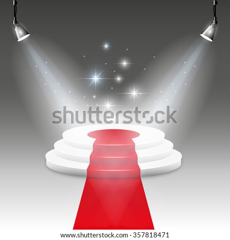 Illuminated stage podium  - stock photo