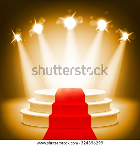 Illuminated stage podium for award ceremony illustration art - stock photo