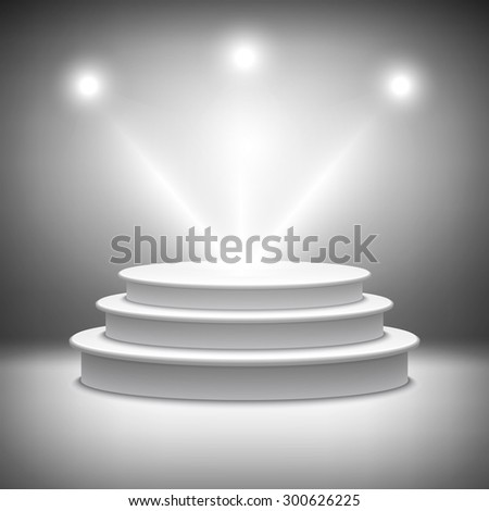 Illuminated stage podium for award ceremony illustration Rasterized Copy