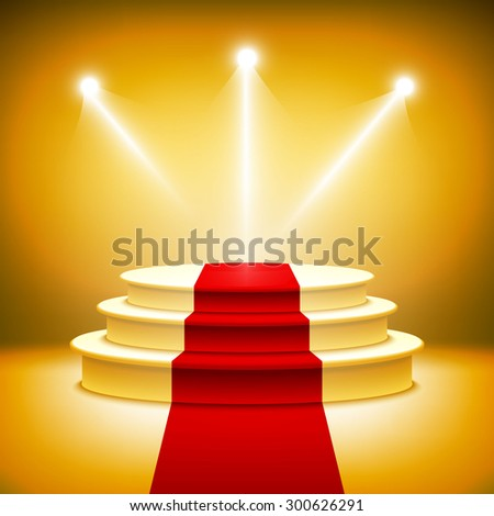 Illuminated stage podium for award ceremony illustration Rasterized Copy - stock photo