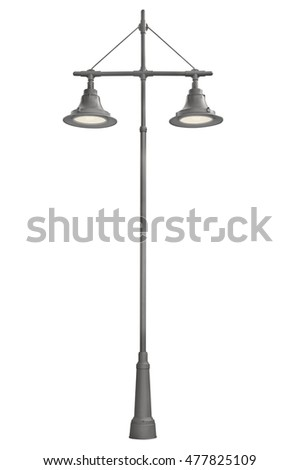 Illuminated Streetlights, Lanterns Pair Lamppost, Vertical Isolated Retro Street Light Closeup, Bright Lit Double Outdoor LED Lantern, Tall Pole Post, Large Detailed Bright Lamps