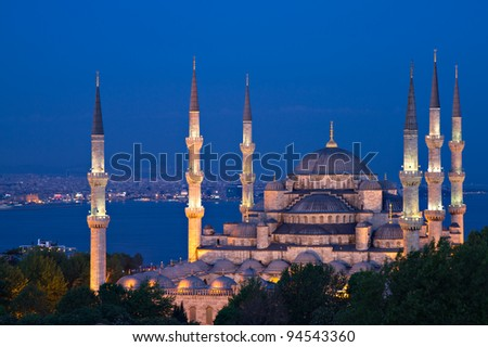 Illuminated Sultan Ahmed Mosque at the blue hour, Istanbul, Turkey - stock photo
