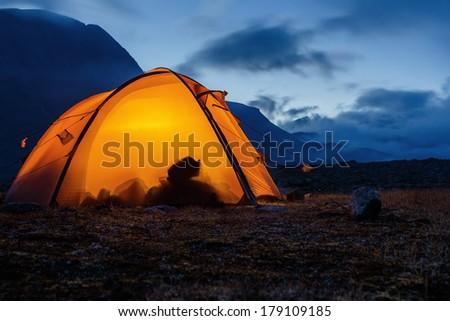 illuminated Tent in Lapland - stock photo