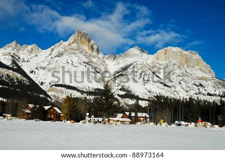 Illuminated winter landscape by the sun with blue sky