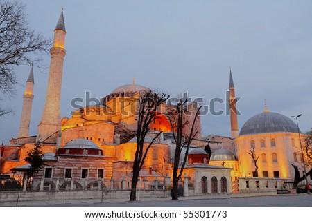 Illuminated world heritage site Hagia Sophia at night in Istanbul, Turkey, HDR image - stock photo
