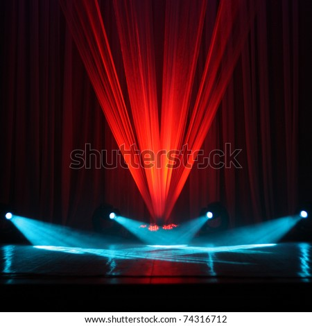 Illumination of a stage during a concert - stock photo