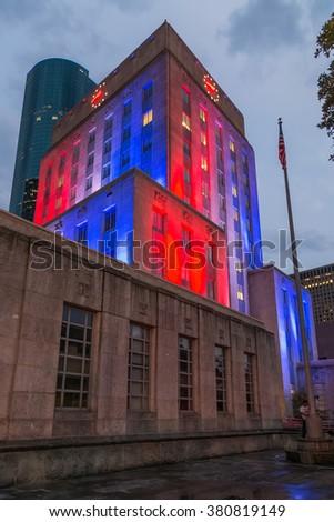 Illumination of Houston City Hall, Texas by night - stock photo