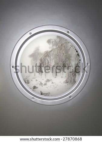 illuminator, fog, winter forest - stock photo