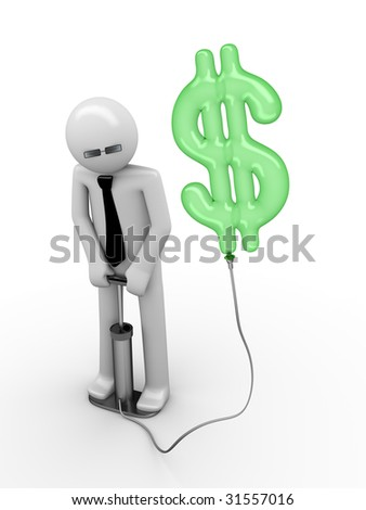 illusion of a dollar: man pumping a dollar sign - stock photo