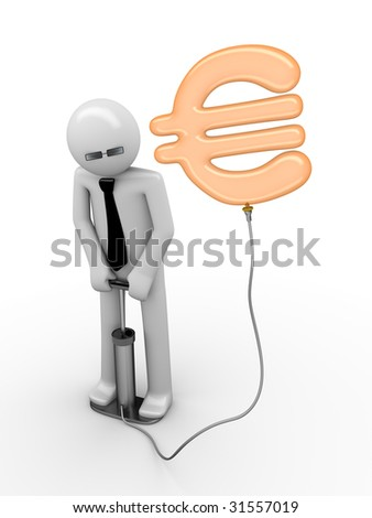 illusion of a euro: man pumping a euro sign - stock photo