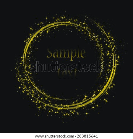 Illustartion of Gold glittering star dust circle - stock photo