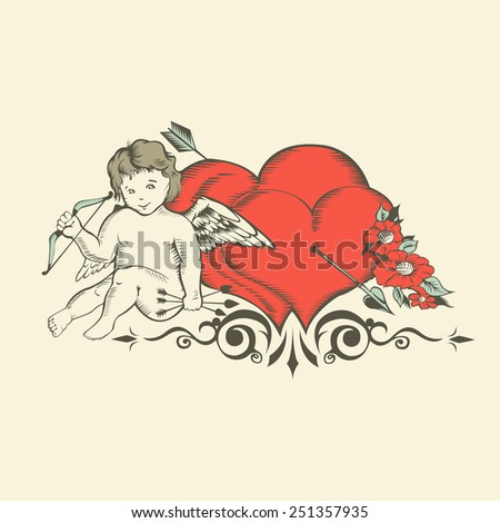 Illustation of Valentine's Day card with Cupid, two hearts and flowers. - stock photo