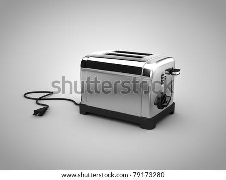 illustraion render of a chrome toaster - stock photo