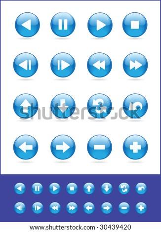 Illustranion raster,set of blue icons - stock photo