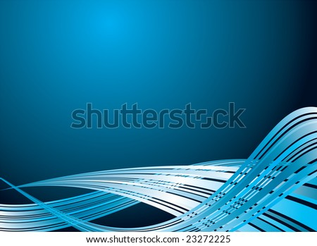 Illustrated abstract background with flowing blue strokes disappearing into the distance