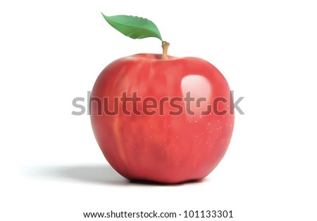 Illustrated Apple - stock photo