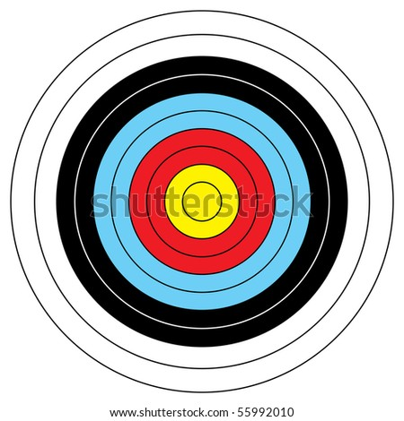 Illustrated archery target icon with colored bands and outline