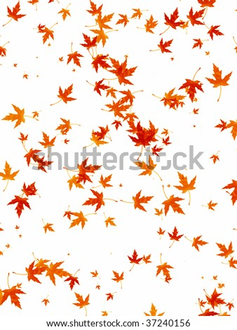 Illustrated background of falling autumn leaves - stock photo