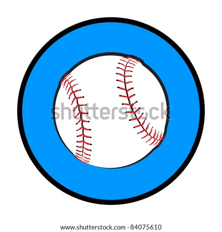 Illustrated Baseball Symbol - High Resolution JPEG Version. (vector version also available). - stock photo
