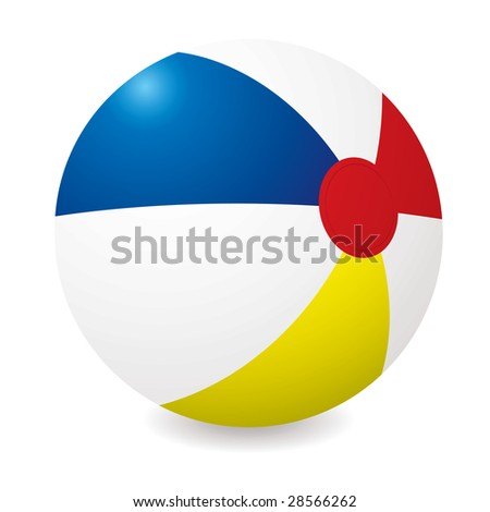 Illustrated beach ball with different colored sections and shadow - stock photo
