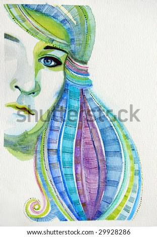 illustrated beautiful girl with abstract decorative hair | hand made | watercolor | self made - stock photo