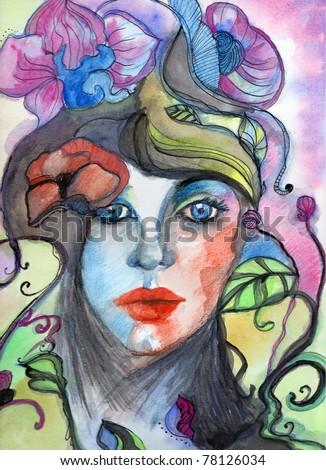 illustrated beautiful woman - watercolor illustration - stock photo