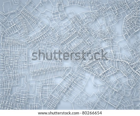 Illustrated blueprint sketch of a detailed generic street map without names - stock photo