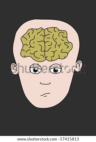 Illustrated cartoon character showing the brain - stock photo