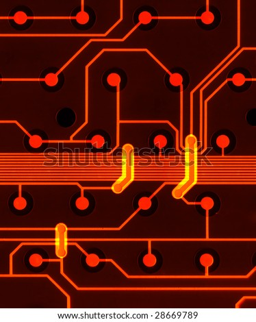 Illustrated circuit board - stock photo