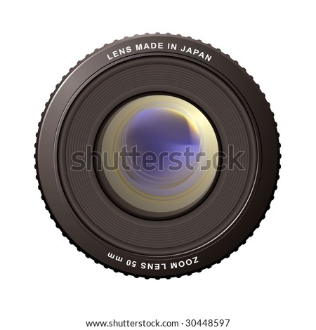 illustrated close up of a camera zoom lens with reflections - stock photo
