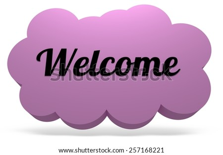 Illustrated cloud with drop shadow and the word Welcome - stock photo