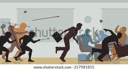 Illustrated color cutouts of cavemen attacking a business meeting - stock photo