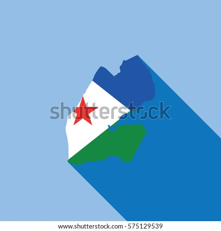 Illustrated Country Shape with the Flag inside of Djibouti