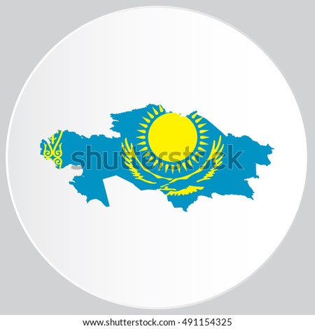 Illustrated Country Shape with the Flag inside of Kazakhstan