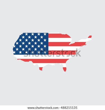 Ilrated Country Shape With The Flag Inside Of United States Of America