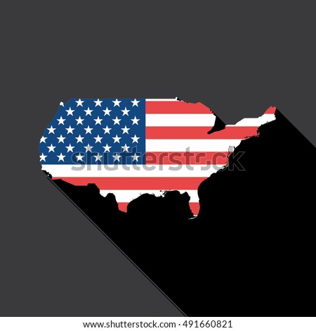 Illustrated Country Shape with the Flag inside of United States of America