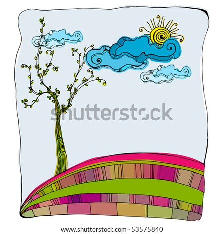 illustrated cute abstract hill | for vector version see my gallery