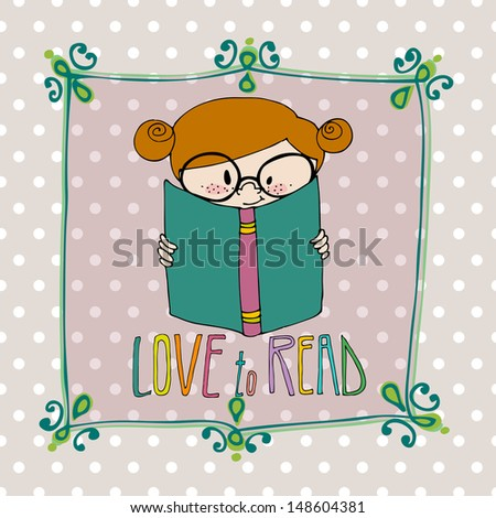 illustrated cute little girl with book  - stock photo