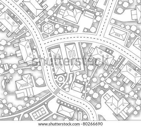 Illustrated cutout map of a generic residential area with background shadow - stock photo