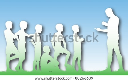 Illustrated cutout of a man coaching children football