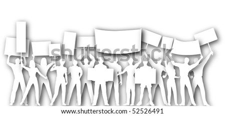 Illustrated cutout silhouettes of people holding placards or signs