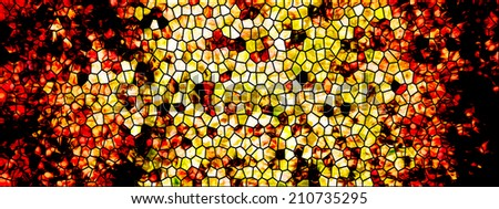 Illustrated design of cell window with reddish and yellow flames and fire
