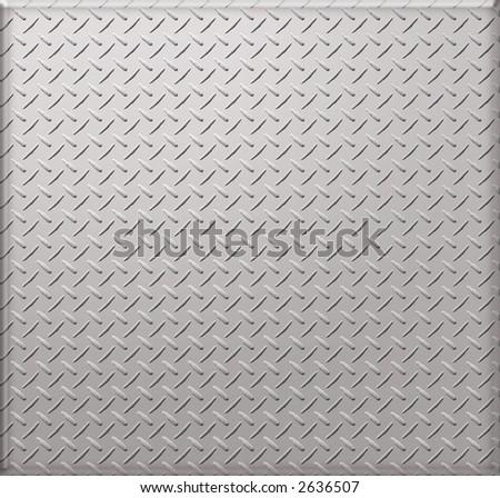 illustrated diamond plate textured background - stock photo