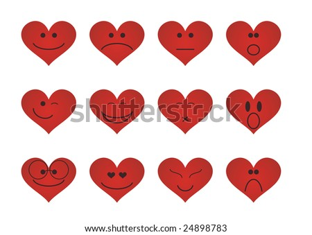 Illustrated emoticons in the shape of hearts - can be used for Valentine's Day templates - stock photo