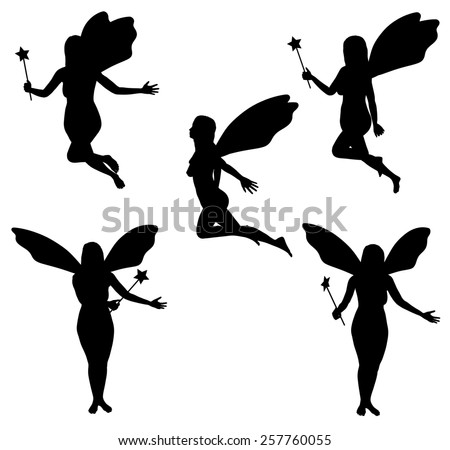 Illustrated Faries in five different poses - stock photo
